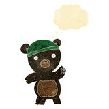 Cute cartoon black bear with thought bubble Royalty Free Stock Photography
