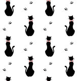 Cute cartoon black cats with bow silhouette seamless pattern background illustration. Cute cartoon black cats with bow silhouette seamless vector pattern Stock Photos