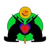 Cute cartoon. Black rabbits. Divided heart. Abstractia with carrots Stock Photo