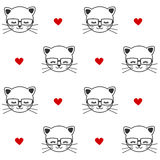 Cute cartoon black and white cats with eyeglasses seamless pattern background illustration. Cute cartoon black and white cats with eyeglasses seamless vector Royalty Free Stock Photo