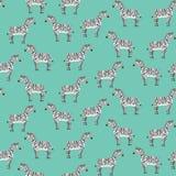 Cute cartoon black and white zebras pattern. Cute cartoon black and white smiling zebras seamless pattern. Texture with childish illustration of striped zebra Stock Photo