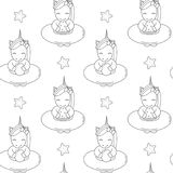 Cute cartoon black and white unicorns with float summer seamless vector pattern background illustration. Cute cartoon black and white unicorns with float summer royalty free illustration