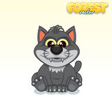 Cute Cartoon Black Wolf. Funny Vector Animal Stock Image
