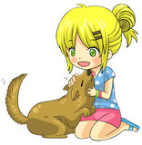 Cute cartoon blond child girl character is playing and cuddling. With her tame domestic pet dog in isolated background, create by vector Stock Photos