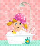 Cute cartoon blonde baby girl taking a bubble bath. Vector illustration of cute cartoon blonde baby girl character in pink washing hat taking a bubble bath with Royalty Free Stock Photography
