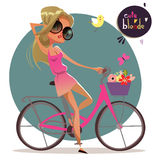 Cute cartoon blonde girl on the bycicle Royalty Free Stock Images