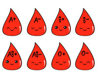 Cute cartoon blood type set illustration Stock Photos