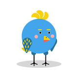 Cute cartoon blue bird character in geometric shape vector Illustration. Isolated on a white background Royalty Free Stock Photo