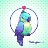 Cute cartoon blue bird. Sitting in the ring, vector illustration Stock Photos