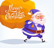 Cute cartoon blue costume Santa Claus delivering gifts in big bag Merry Christmas vector illustration Greeting card Stock Photo