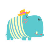Cute cartoon blue hippopotamus in straw hat. African animal colorful character vector Illustration Royalty Free Stock Photo