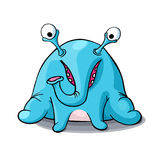 Cute cartoon blue monster elephant isolated on white background Stock Images