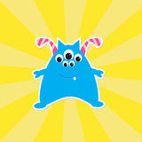 Cute cartoon blue monster Stock Photos