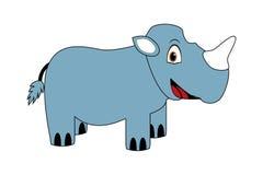 Cute cartoon blue rhinoceros smiling. Children illustration of cute cartoon rhinoceros vector illustration