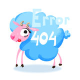 Cute cartoon blue sheep for 404 error page. Funny cartoon animal. Vector illustration Royalty Free Stock Photography