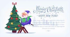Cute cartoon blue suit Santa Claus decorating Christmas tree Merry Christmas vector illustration Greeting card poster Royalty Free Stock Photos