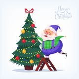 Cute cartoon blue suit Santa Claus decorating Christmas tree Merry Christmas vector illustration Greeting card poster. Royalty Free Stock Photo