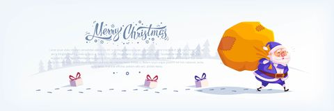 Cute cartoon blue suit Santa Claus delivering gifts in big bag Merry Christmas vector illustration Greeting card poster. Royalty Free Stock Image