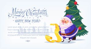 Cute cartoon blue suit Santa Claus reading gift list Merry Christmas vector illustration Greeting card poster horizontal Stock Image