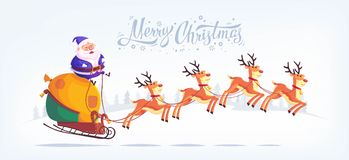 Cute cartoon blue suit Santa Claus riding reindeer sleigh Merry Christmas vector illustration Greeting card poster Stock Photography