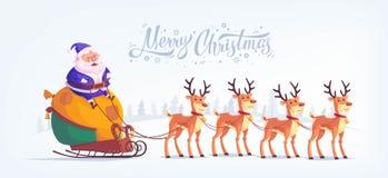 Cute cartoon blue suit Santa Claus riding reindeer sleigh Merry Christmas vector illustration Greeting card poster Stock Photo