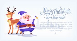 Cute cartoon blue suit Santa Claus ringing bell with reindeer Merry Christmas vector illustration horizontal banner. Stock Photography