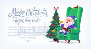 Cute cartoon blue suit Santa Claus sitting in chair drinking tea Merry Christmas vector illustration horizontal banner. Stock Photos