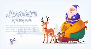 Cute cartoon blue suit Santa Claus sitting in sleigh with reindeer Merry Christmas vector illustration horizontal banner.  Stock Photo