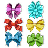 Cute cartoon bows of different shapes and colors. Isolated on white background Royalty Free Stock Images
