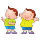 Cute cartoon boy character. Happy and victory action Stock Images
