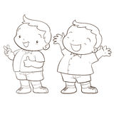 Cute cartoon boy character. Happy and victory action line art Stock Photo