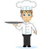 Cute cartoon boy chef holding a tray Stock Images