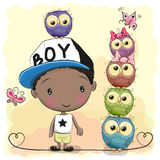 Cute Cartoon Boy and five Owls vector illustration