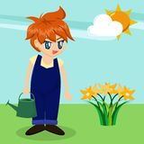 Cute Cartoon Boy in Garden royalty free illustration