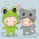 Cute Cartoon boy and girl Stock Image