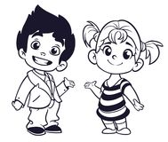Cute cartoon boy and girl with hands up vector illustration Stock Image