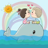 Cute Cartoon boy and girl are kissing. On a whale vector illustration