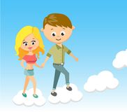 Cute Cartoon Boy and Girl. With Love. Walking on Clouds. Character, Little, Joy, Young, Smile, Pretty, Happy. Stock Photography