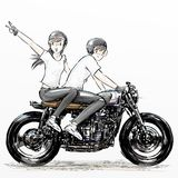 Cute cartoon boy and girl riding motorcycle. Hand drawing of Cute cartoon boy and girl riding motorcycle Stock Images
