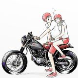 Cute cartoon boy and girl riding motorcycle Royalty Free Stock Photos