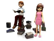 Cute cartoon boy and girl surrounded by books. Stock Photos