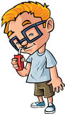 Cute cartoon boy with glasses drinking juice. Isolated on white Stock Photography