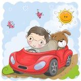Boy goes on the car. Cute Cartoon Boy goes on a car stock illustration