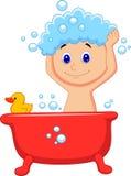 Cute cartoon boy having bath Royalty Free Stock Image