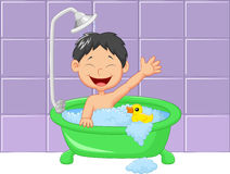Cute cartoon boy having bath Royalty Free Stock Photography