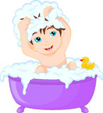 Cute cartoon boy having bath. Vector illustration of Cute cartoon boy having bath Stock Photography