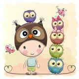 Cute Cartoon Boy Owls Stock Photo