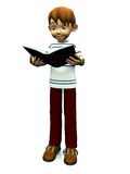 Cute cartoon boy reading book. Royalty Free Stock Photo