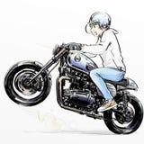 Cute cartoon boy riding motorcycle Royalty Free Stock Photos