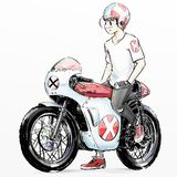 Cute cartoon boy riding motorcycle Stock Photo